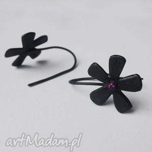 kwiat kolczyki, kwiat, srebro, cyrkonia, oksydowane