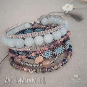 Zestaw bransoletek Lena, boho, romantyczne, delikatne, krosno, kamienie, minerały