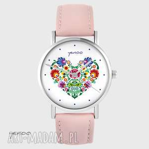 handmade zegarki zegarek - folkowe serce pudrowy róż, skórzany