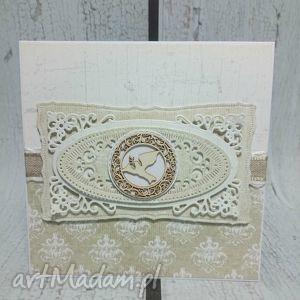 ręczne wykonanie scrapbooking kartki ażurowa pamiątka chrztu świętego w odcieniach