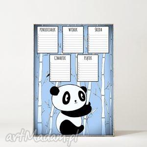Plan lekcji. Panda, panda, miś, plan, lekcje, szkoła, plakat