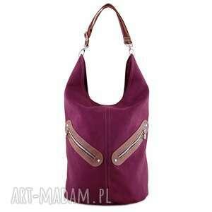 kofi - duża torba worek bordowa, pojemna, duża, praktyczna, niebanalna