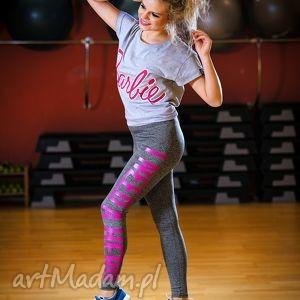 uniwersalne legginsy w sportowym z napisem nadrukiem, legginsy, spodnie, rurki
