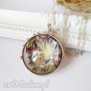 naszyjniki kwiat koniczyny w szkle, kwiaty, koniczyna, szkłany, wisiorek biżuteria