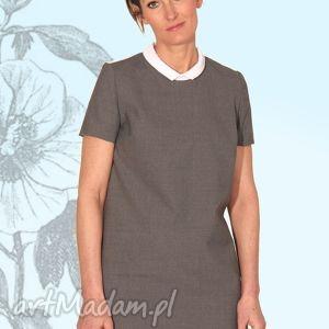 Sukienka graya sukienki efimero elegancka, prosta, kołnierzyk