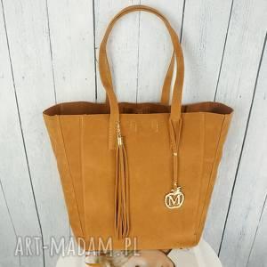 duża torba 2w1 karmelowa zamsz, torebka, 2w1, manzana, duża, pojemna, ekoskóra
