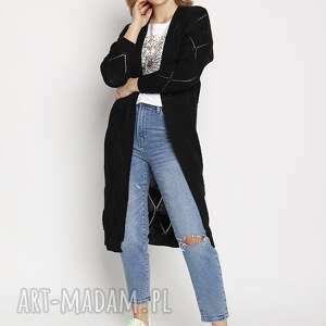 ażurowy czarny płaszczyk, pa011 mkm, damski sweter, kardigan, długi