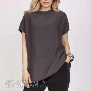 dzianinowy t-shirt - swe224 grafit mkm, dzianinowy, sweter, t shirt, do pracy