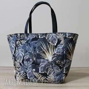 shopper bag - monstery czarno-złote, elegancka, nowoczesna, pakowna