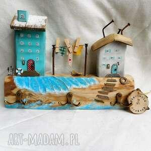 wieszak z pejzażem morskim no 2, drewna, drewniane domki, nadmorski