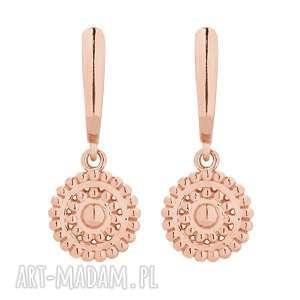 kolczyki z rozetami z różowego złota - okrągłe