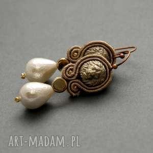 klipsy sutasz z lwami, sznurek, eleganckie, wiszące, wieczorowe, perełka, małe