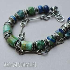 handmade srebrna bransoletka, amazonit rosyjski, azuryt, apatyt