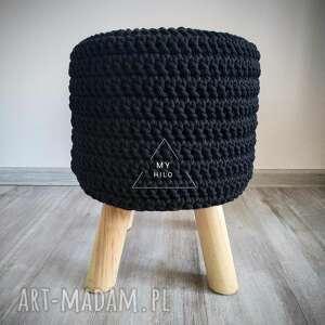 pokrowiec na stołek skandynawski handmade szydełko