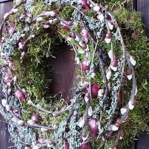 hand-made dekoracje wianek wiosenny na drzwi z cebulą