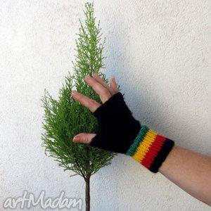 w kolorach rasta - rękawiczki, mitenki, rasta, reggae, unisex