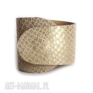 ręcznie wykonane bransoleta skórzana złota wężowa wrapped