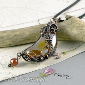 Moon necklace - naszyjnik ze szklanym księżycem, naszyjnik, miedź, wisior, księżyc