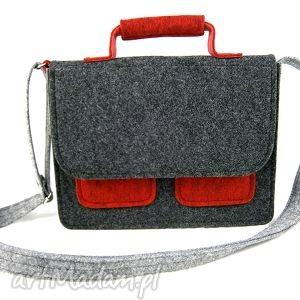 Mess gray-anthracite-m.red - ,torebka,teczka,listonoszka,modna,kolorowa,