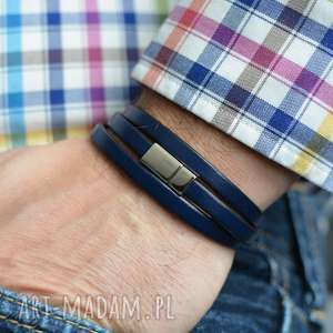 BRANSOLETKA MĘSKA SKÓRZANA HOMBREE TRIPLE STEEL NAVY BLUE, bransoletka, skóra