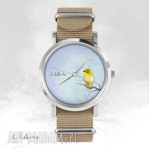 handmade zegarki zegarek, bransoletka - żółty ptaszek - beżowy, nato