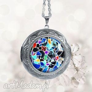 mozaikowy otwierany medalion na prezent - sekretnik, duży, okrągły