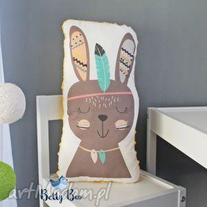 pokoik dziecka poduszka przytulanka, indiański króliczek, bawełna, minky