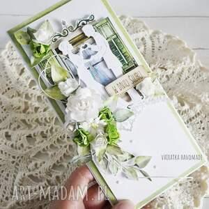 kartka ślubna w pudełku 857 vairatka handmade - białe, prezent ślubny