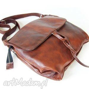 surowa baronowa kasztan antyk, skóra, kasztan, leather, chestnut, naturalna, pojemna