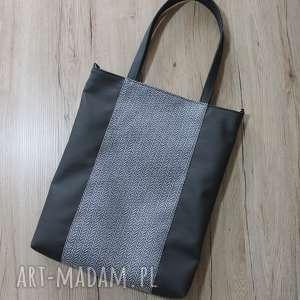 pomysł na upominek Szoperka - grafit i tkanina w jodełkę, elegancka, pakowna, zakupy