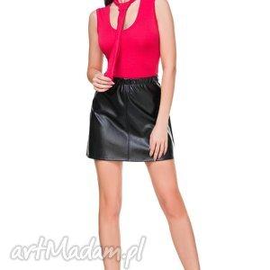 Spódnica mini z ekos-skóry T175, czarny, spódniczka, mini, ekoskóra, guma