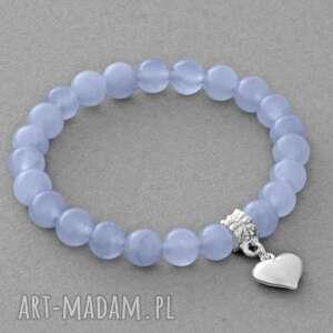 jade with heart in blue-violet - zawieszka, serce, kulka