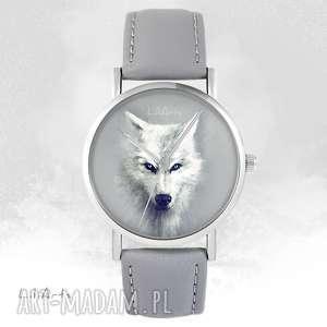 handmade zegarki zegarek - biały wilk szary, skórzany