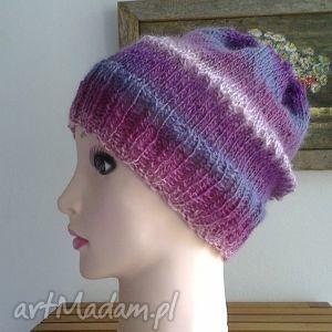 wrzosy i wrzośce czapka rękodzieło, dodatek zima, jesień, prezent