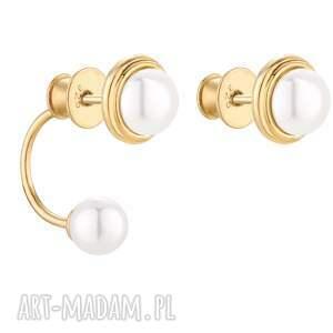 złote asymetryczne kolczyki z perłami swarovski® crystal