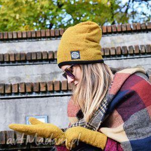 handmade rękawiczki wełniane rękawiczki mozga - musztardowe