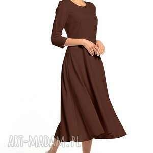 elegancka sukienka maxi z zamkiem krytym, t327, brązowa, elegancka