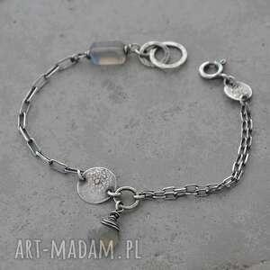 prosta srebrna bransoletka z labradorytem - 034, labradoryt, srebro, surowa