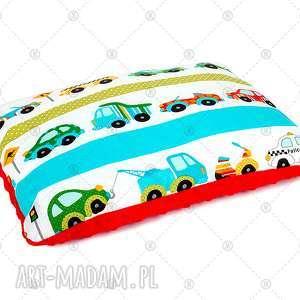 poduszka minky podusia 40x50 cm komplet do kocyka - auta na czerwieni - poduszka, podusia