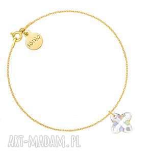 złota bransoletka z opalizującym kryształem swarovski crystal