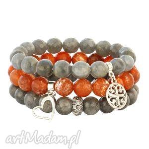 grey & orange set lavoga - labradoryt, serce, agat