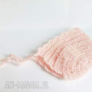 Szydełkowa bonetka newborn - pastelowy róż - hand-made