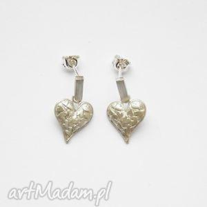 kolczyki srebne - bisłe na sztyftach ii miłość, biżuteria, srebro, kolczyki