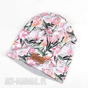 czapka w kolorowe kwiaty beanie ciepła, czapka, beanie, kolorowa ciepła