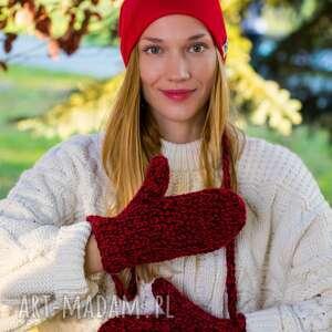 rękawiczki czerwone wino, rękawiczki, ciepłe, na zimę