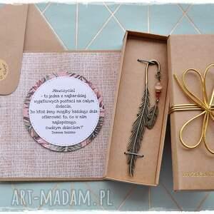 handmade zakładki prezent dla nauczyciela - zestaw boho, zakładka pióro