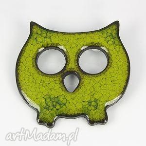sowa - broszka, ceramika, sowa, zielona