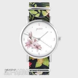 zegarki zegarek - lilia kwiaty, nato, zegarek, bransoletka