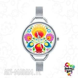 Zegarek z grafiką ŁOWICZ, folk, ludowe, etniczne, wycinanka, łowickie,