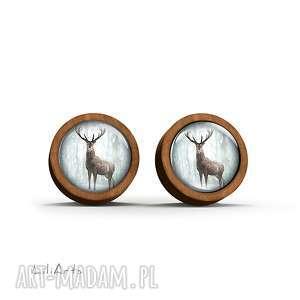 Kolczyki drewniane - jeleń 3 sztyfty liliarts kolczyki, sztyfty